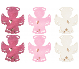 Wooden angel on a peg red-pink-beige 4 cm 6 pieces