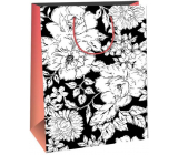 Ditipo Gift paper bag 22 x 10 x 29 cm Creative black, white flowers