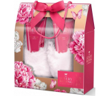 Grace Cole Floral Footed foot cleansing gel 150 ml + foot cream 150 ml + luxury slippers, cosmetic set
