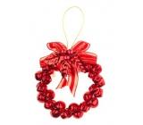 Věneček z rolniček - kov, barva červená 8,5 cm