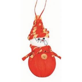 Sněhulák z lýka oranžový 15 cm závěsná figurka