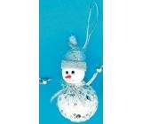 Sněhulák bílý se stříbrnými flitry k zavěšení 10 cm