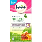 Veet Natural Inspirations wax bands 12 pieces + Luminous Finish wipes 2 pieces