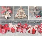 Nekupto Postcard with glitter Christmas pattern 1 Joyful Christmas 15 x 11 cm