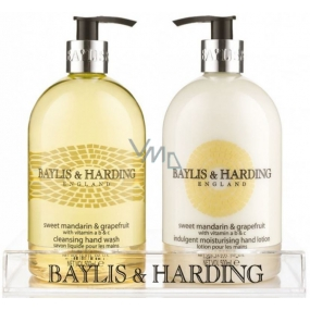 Baylis & Harding Tangerine and Grapefruit liquid soap dispenser 500 ml + hand milk dispenser 500 ml, cosmetic set