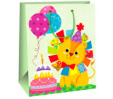 Ditipo Gift paper bag large light green lion 26 x 32,5 x 13,8 cm