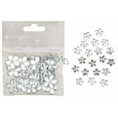 Self-adhesive flowers white 2 cm 20 pieces