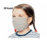 Veil 3-layer protective non-woven disposable, low breathing resistance for children 10 pieces beige without print