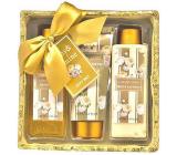 Salsa Collection Luxury Gold Peony and Jasmine shower gel 170 ml + body lotion 170 ml + bath foam 150 ml + sequin box, cosmetic set