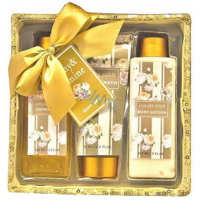 Salsa Collection Luxury Gold Peony and Jasmine shower gel 170 ml + body lotion 170 ml + bath foam 150 ml + sequin box, cosmetic set