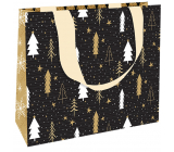 Nekupto Gift paper bag luxury 23 x 18 cm Christmas black with trees WLFM 1992
