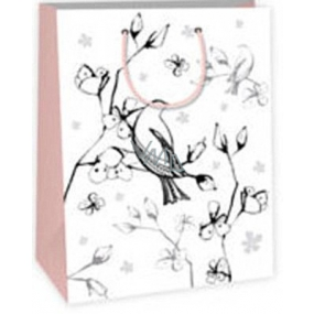 Ditipo Gift paper bag for painting 22 x 10 x 29 cm white bird flowers Kreativ 40