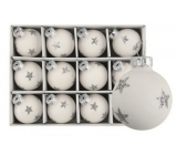 White glass flasks with star set of 3 cm, 12 pieces