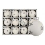 Sada skleněných baněk bílých s hvězdou 3 cm, 12 kusů