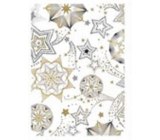 Ditipo Gift wrapping paper 70 x 500 cm Christmas white gold-black stars