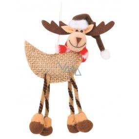 Jute reindeer for hanging 11 cm