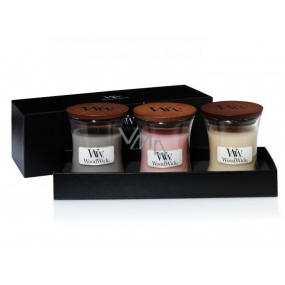 WoodWick Coastal Sunset + Vanilla Bean + Fireside Christmas candle set with wooden wick and lid glass small 3 x 85 g