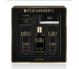 Baylis & Harding Men Black Pepper and Ginseng 2in1 shampoo and shower gel 300 ml + toilet soap 150 g + shower gel 130 ml + aftershave balm 130 ml + skin washcloth, cosmetic set for men