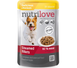 Nutrilove Stewed fillets with juicy chicken in sauce complete dog food pouch 85 g