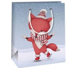Ditipo Gift paper bag 11.5 x 6.5 x 14.5 cm blue fox on skates