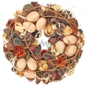 Brown wreath with eggs 23 cm