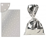 Silver bag with white stars 16x25cm