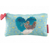Miquelrius Stationery case blue with heart 22.5 x 11.5 x 1 cm