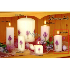 Lima Flower Lavender scented candle light purple with decal lavender cylinder 50 x 100 mm 1 piece