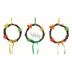 Wicker wreath with 16 cm decorations
