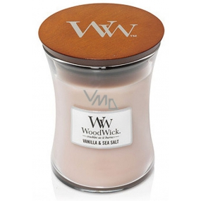 WoodWick Vanilla Sol - Vanilla and sea salt scented candle with wooden knot and glass cap medium 275 g
