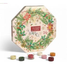 Yankee Candle Advent Calendar Wreath tealight 24 pieces + glass candlestick 1 piece, Christmas gift set