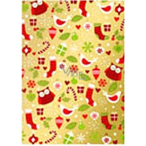 Ditipo Gift wrapping paper 70 x 500 cm Christmas golden birds, gifts2033913
