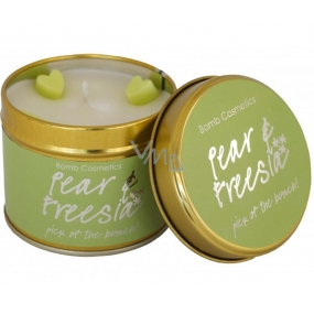 Bomb Cosmetics Pear and Freesia Scented natural handmade candle in a tin jar burns up to 35 hours