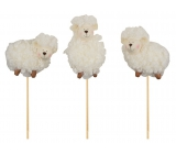 Sheep white curly recess 8 cm + skewer