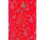 Ditipo Gift wrapping paper 70 x 150 cm Christmas red holographic silver print