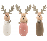 Wooden reindeer with a bell, standing 13.5 cm