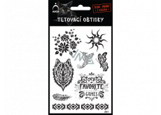 Arch Tattoo Decals Black Flowers 9.5 x 16 cm