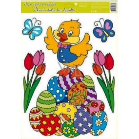 Room Decor Window foil without glue Easter duck on a pile of Easter eggs 42 x 30 cm