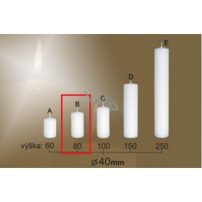 Lima Gastro smooth candle white cylinder 40 x 80 mm 1 piece