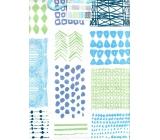 Nekupto Gift paper bag large 32,5 x 26 x 13 cm Blue, green patterns 1719 40 KFL