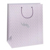 Ditipo Gift paper bag large, white, pink ornament 32,4 x 10,2 x 45,5 cm QXA