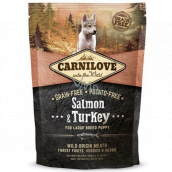 Carnilove Puppy Salmon + Turkey food without cereals and potatoes for puppies of large breeds aged 3 - 30 months and weighing in adulthood over 25 kg 1.5 kg