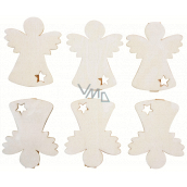 Wooden angel on a peg 6 cm 6 pieces