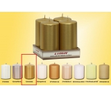 Lima Candle smooth metal gold cylinder 50 x 100 mm 4 pieces