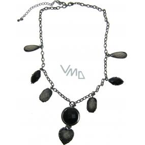 Jewelery Necklace dark gray with stones 47 cm