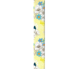 Ditipo Wrapping paper yellow with blue-white flowers 100 x 70 cm 2 pieces