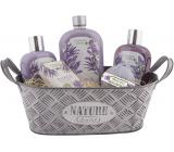 Bohemia Gifts Lavender tinsel hair shampoo 250 ml + shower gel 250 ml + bath foam 500 ml + foaming ball 100 g + toilet soap 100 g + tin box, cosmetic set