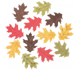 Leaves wooden yellow-green-red-brown 4 cm 12 pieces