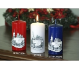 Lima Relief Church candle dark blue cylinder 60 x120 mm 1 piece