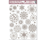Room Decor Window film without adhesive white silver circular stars 42 x 30 cm